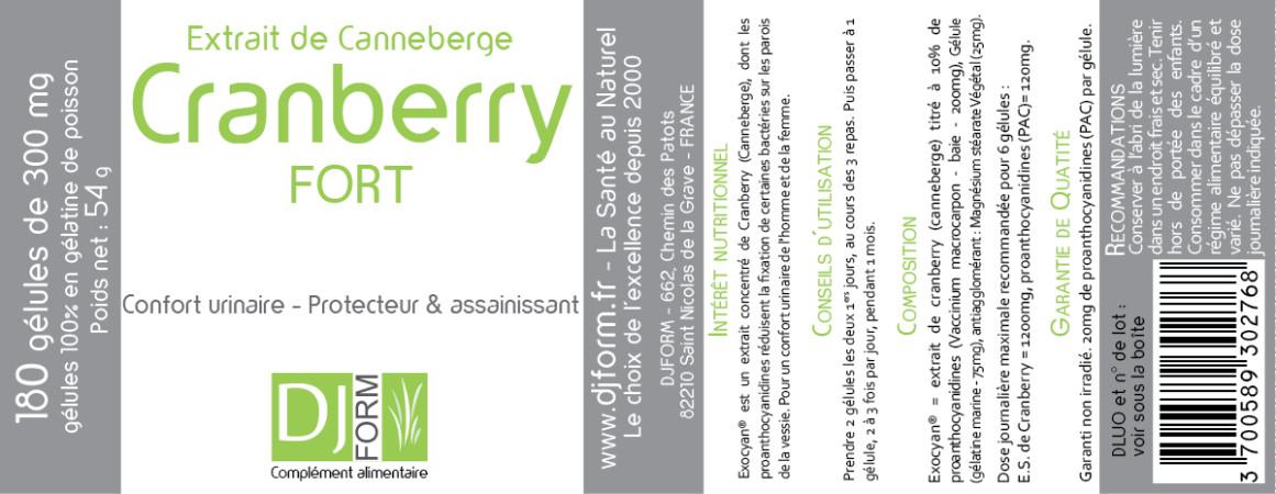Etiquette Cranberry Fort Djform 180 gélules