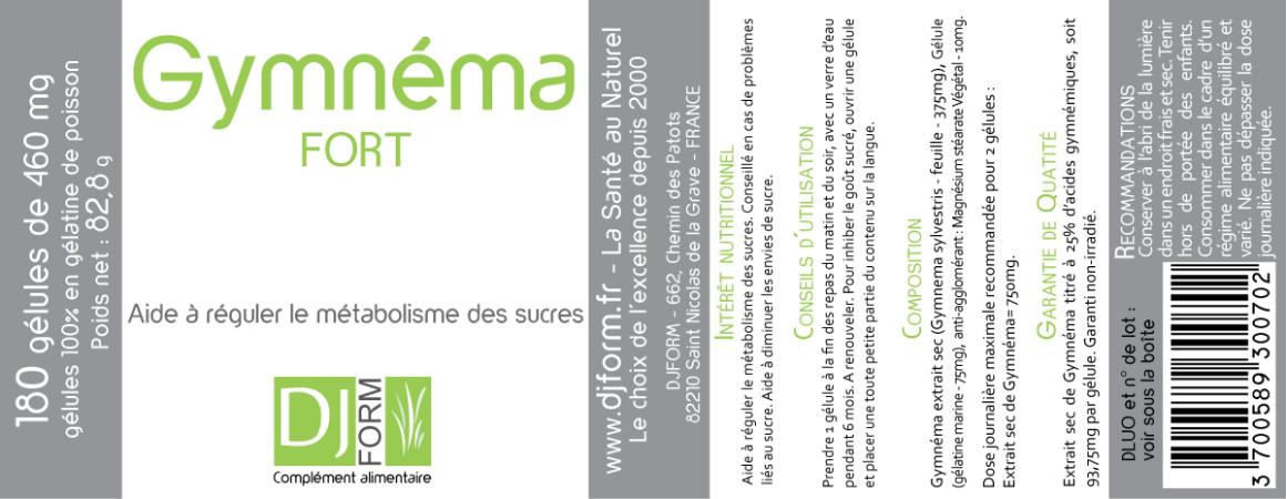 Etiquette Gymnéma Fort Djform 180 gélules