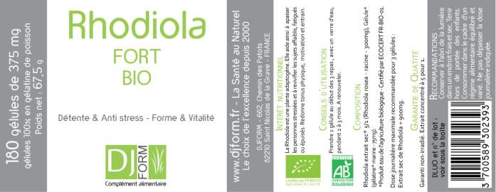 Etiquette Rhodiola Fort Bio Djform 180 gélules