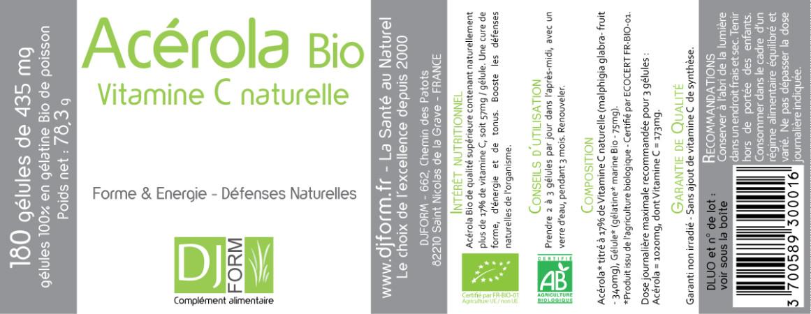 Etiquette Acérola Bio - Vitamine C Naturelle Djform 180 gélules