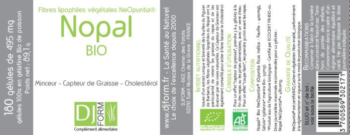 Etiquette Nopal Bio Djform 180 gélules