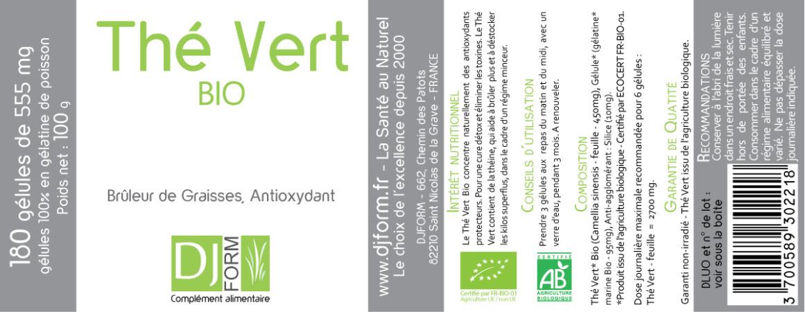 Etiquette Thé Vert Bio Djform 180 gélules